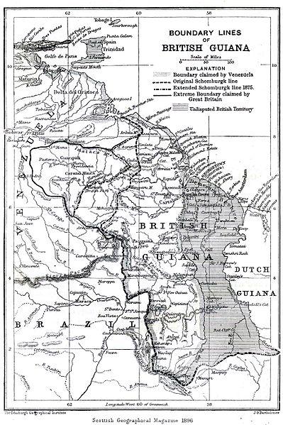 Mapa antiguo de GUYANA,  año 1896