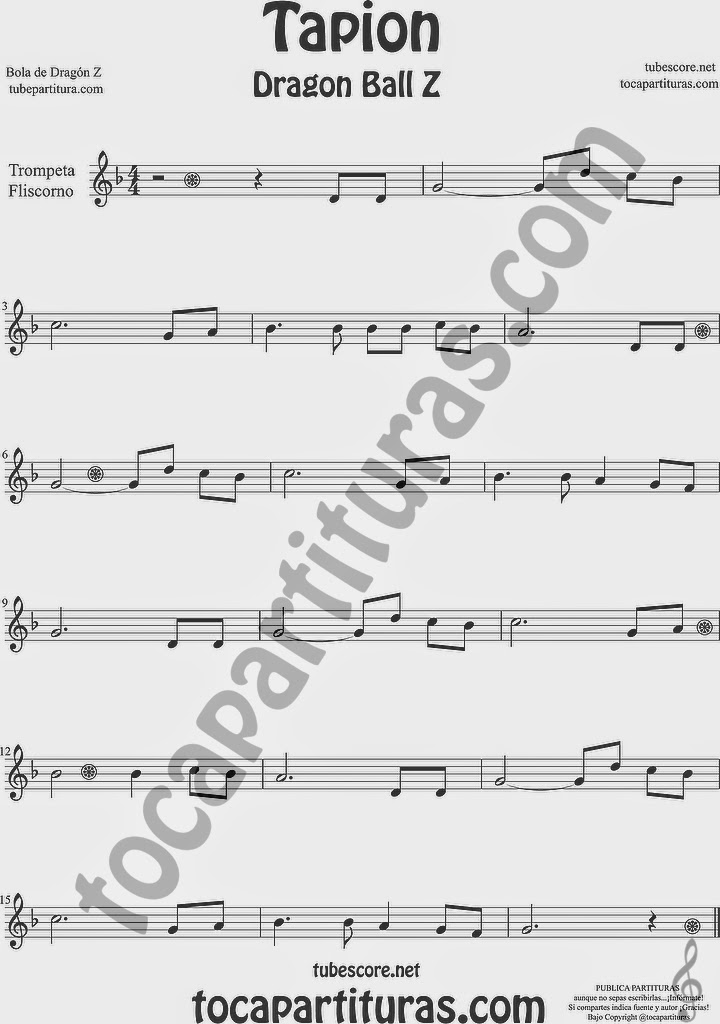 Tapión Bola de Dragón Z Partitura de Trompeta y Fliscorno Sheet Music for Trumpet and Flugelhorn Music Scores Dragon Ball Z