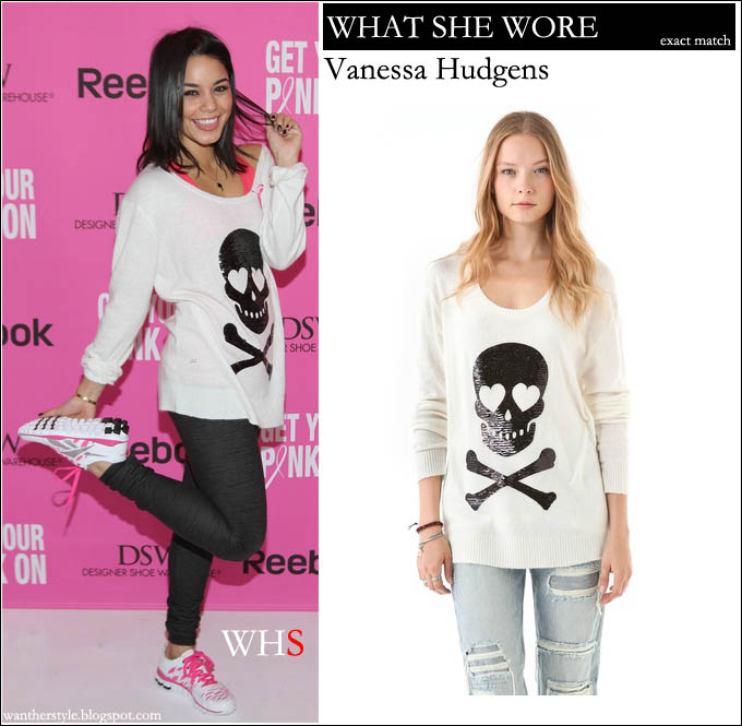 vanessa hudgens, sweater, skull, wildfox,