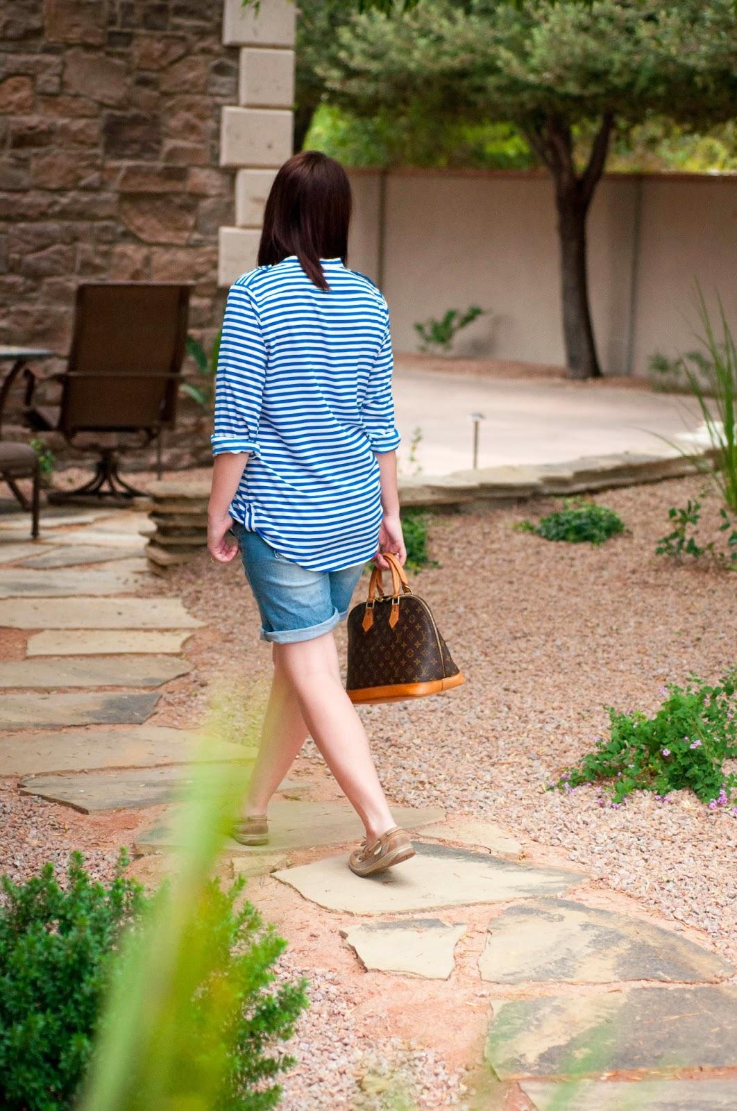 louis vuitton monogram print, calvin klein stripped shirt, calvin klein, ootd, sperry topsider for women, fashion blog, style blog, utah blogger