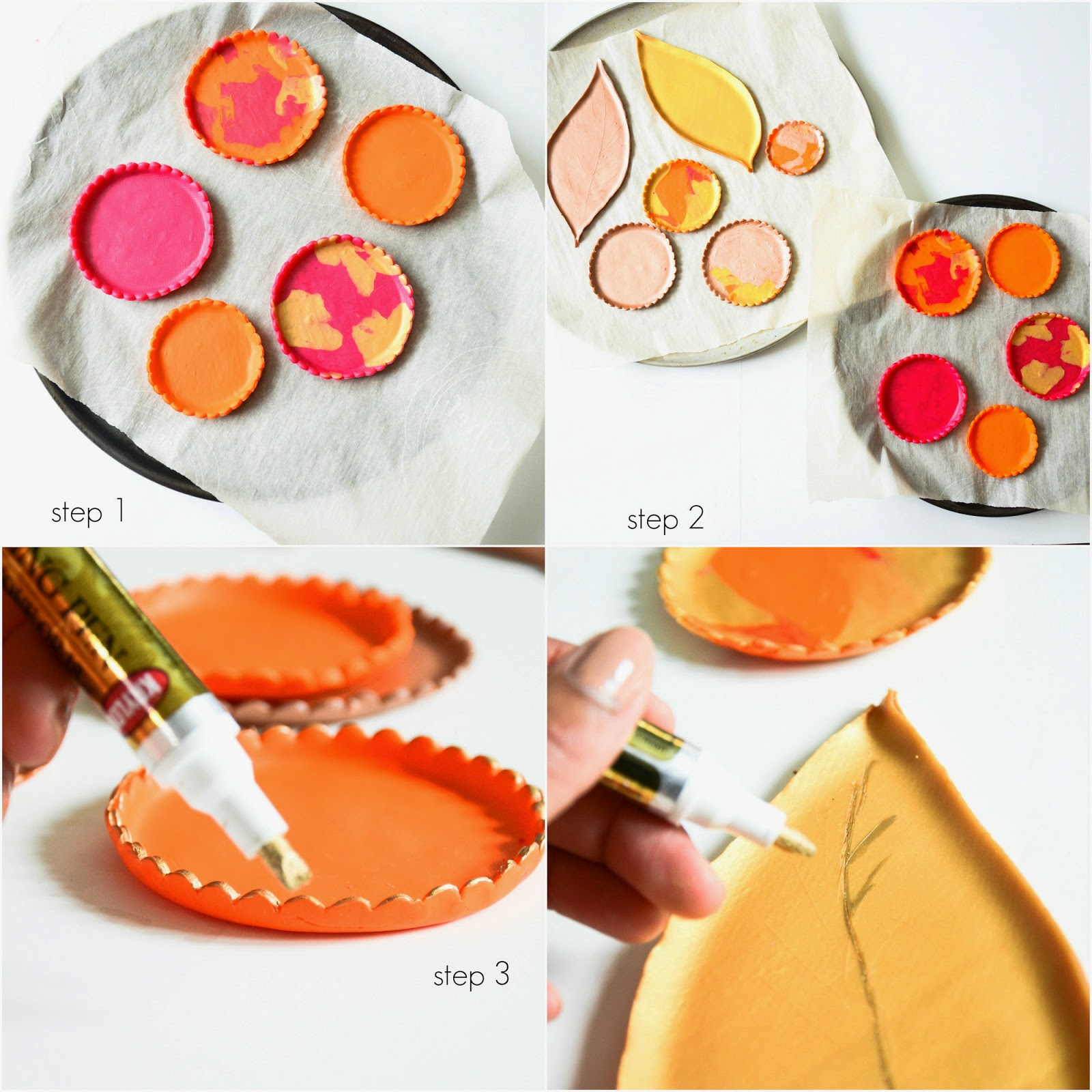 DIY: oven baked clay dishes in metallics and fall colours for thanksgiving decor