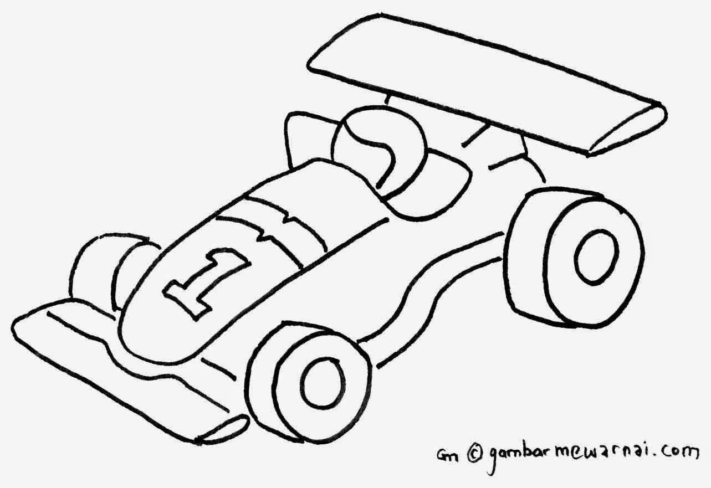 Gambar Mewarnai Mobil Balap