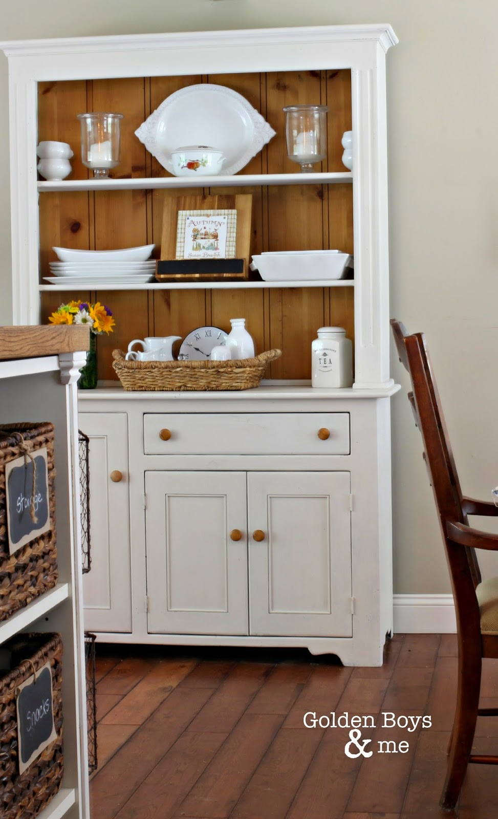 Farm style hutch painted with DecoArt chalky finish paint ll www.goldenboysandme.com