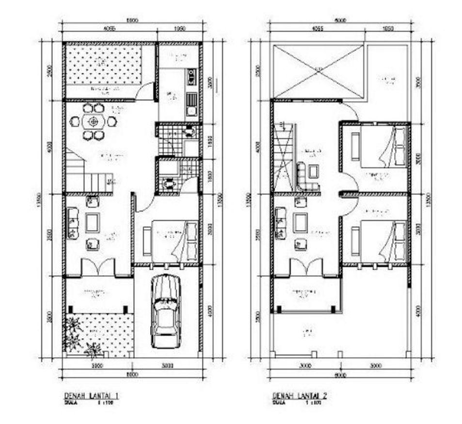 bentuk denah rumah tingkat 2 lantai idaman