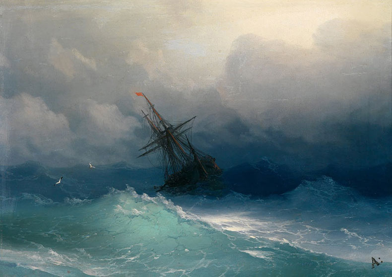 Hipnotizantes olas translúcidas en pinturas rusas del siglo 19