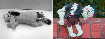 Un lapicero inadecuado - Un muñeco que sostiene su cabeza