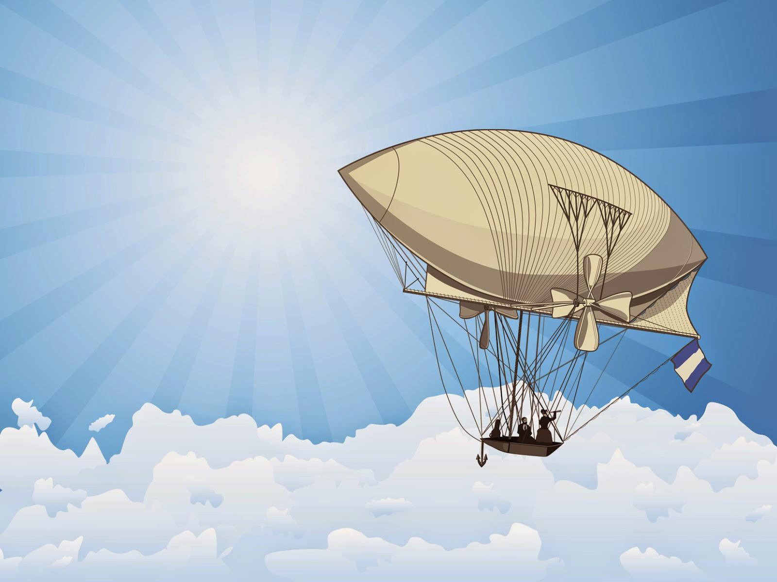 The Seeker airship clouds Victorian blue sky vector graphics Josef Spalenka