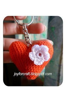 Amigurumi Crochet Heart Red Keychain idea