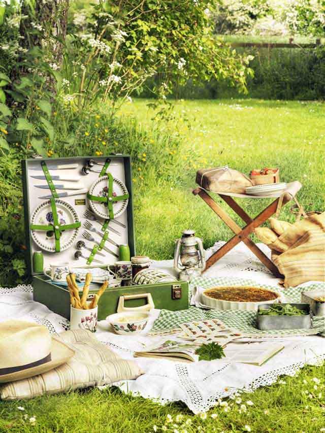 decoracion  interior en un refugio -picnik jardín