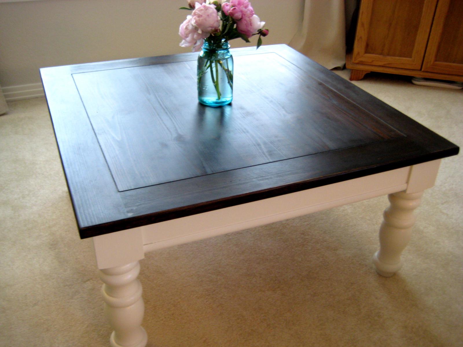 Handmade Homebody Coffee Tea Or Table - White coffee table with dark wood top