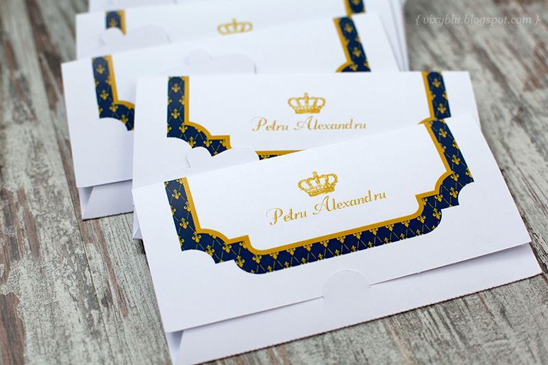 place card botez, invitatie regala, invitatie botez albastru si auriu, plic de bani, plic dar