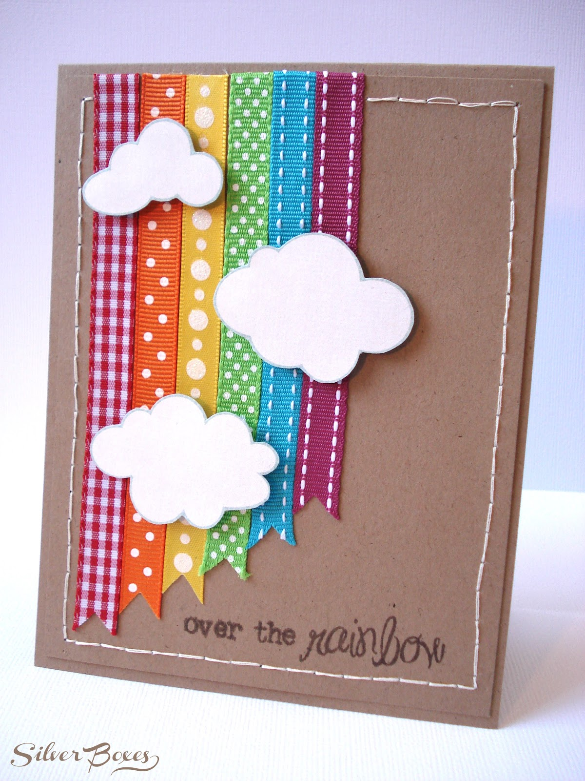 Silver boxes over the rainbow card for Album de la decoration