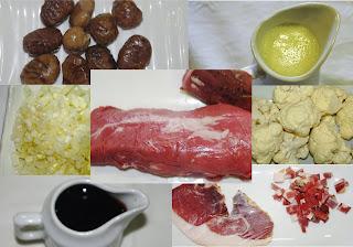 solomillo de jabalí con puré de coliflor, ingredientes