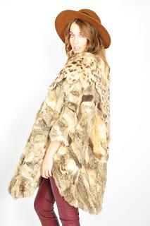 Vintage 1980's animal print patchwork rabbit fur coat.