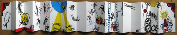 livre d'artiste en sérigraphie de Brigitte Rio- cirque