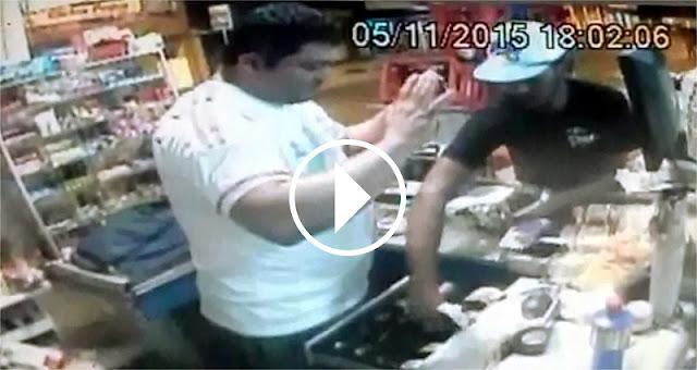 Câmeras de segurança flagram assalto em mercadinho no Conjunto João Alves em Socorro