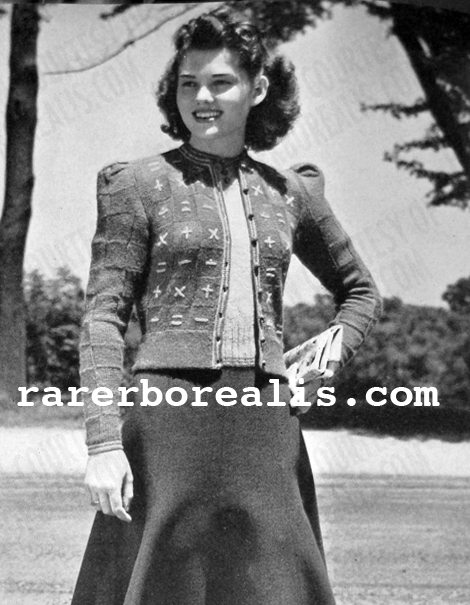 Free Pattern 1940's Knitting - Embroidered Twin Sweater Set