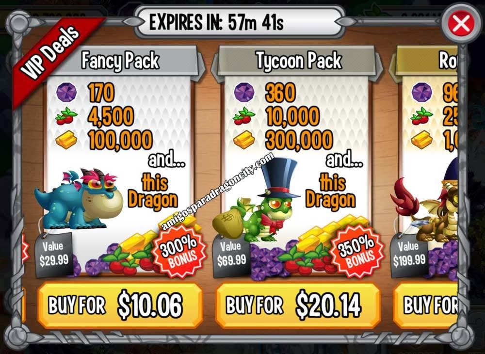 imagen de las ofertas fancy pack y tycoon pack de dragon city ios y android
