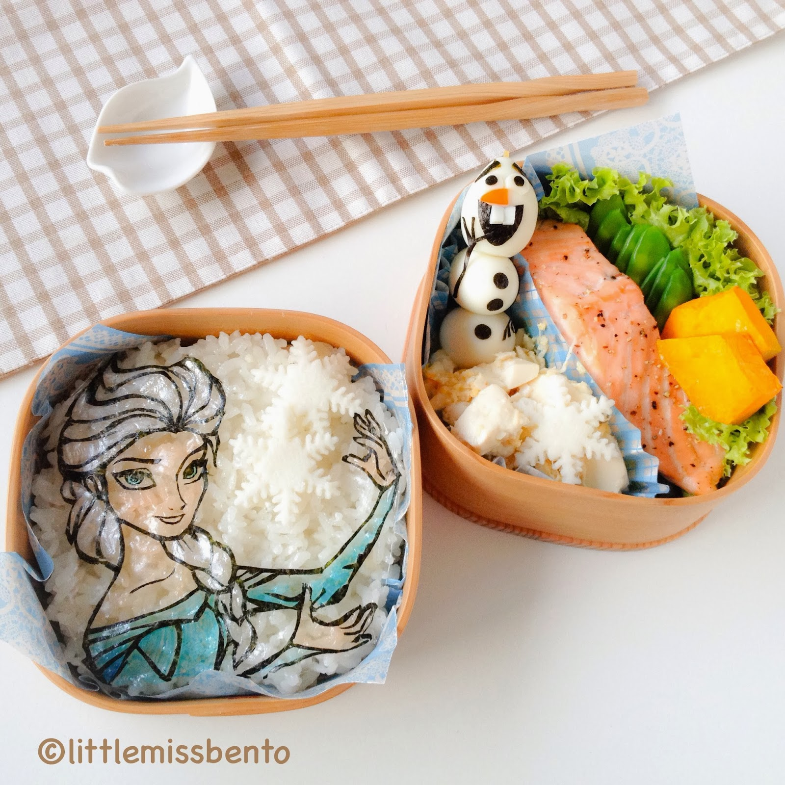 olaf and snow queen elsa bento little. Black Bedroom Furniture Sets. Home Design Ideas