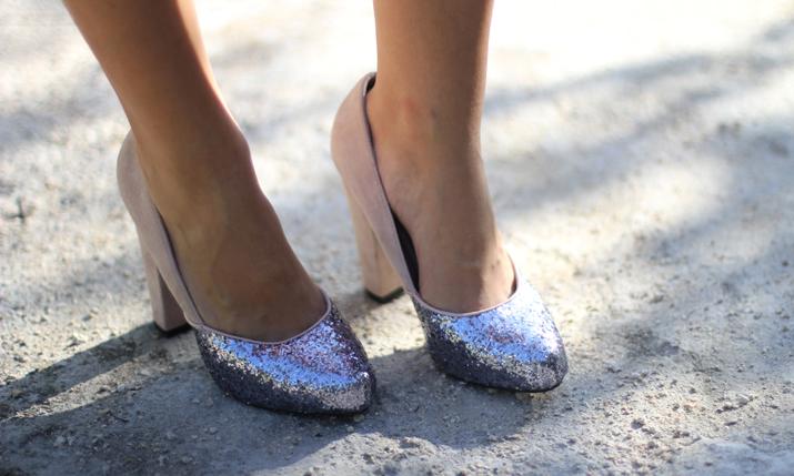 Glitter shoes blogger