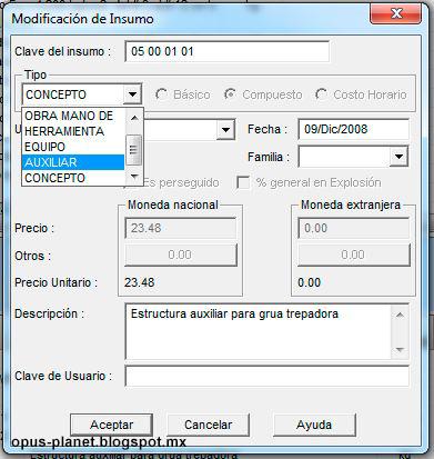 Opus 2010 Cambiar tipo de recurso