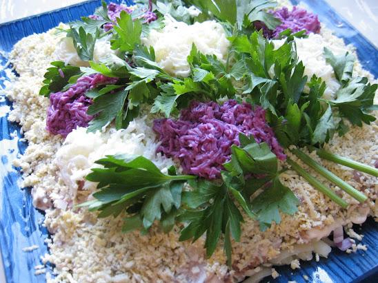 Оформление салата Мимоза  как оформить блюдо