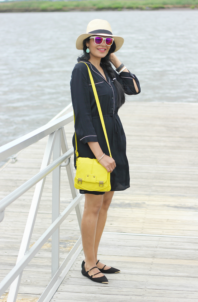 Black Shirt Dress, Black Dress With Piping, LOFT black shirt dress, Zara multistrap flats
