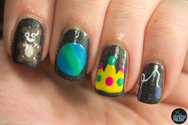 nails, nail art, nail polish, i love nail polish a.c.slater, toys, christmas winter challenge, hey darling polish