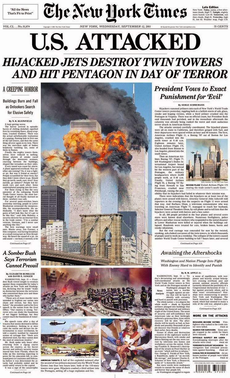 9-11 New york times front page image