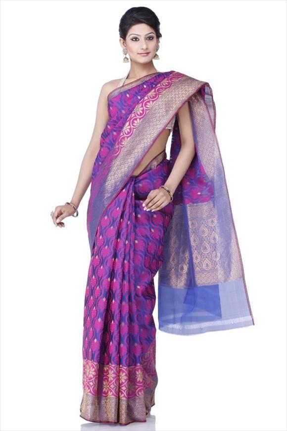 Rose Violet Kattan Silk Banarasi Saree