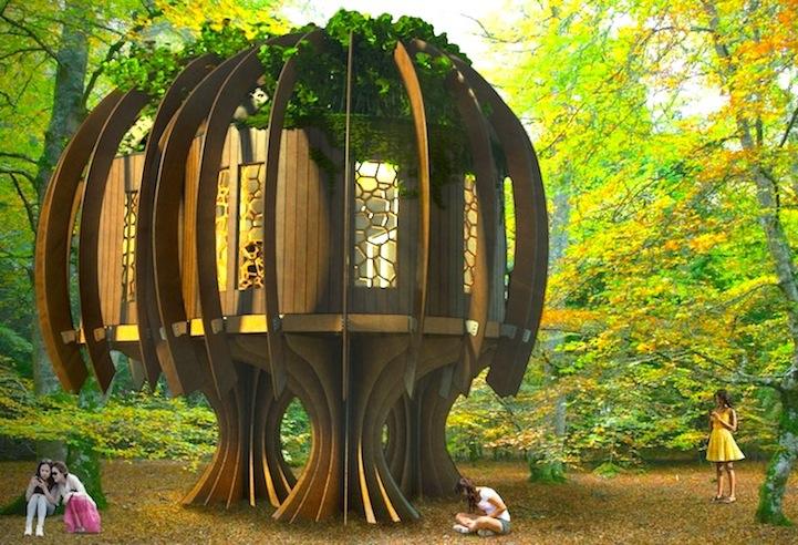 Tranquilo Casa del Árbol sonidos de animales Blue Forest Quiet Treehouse