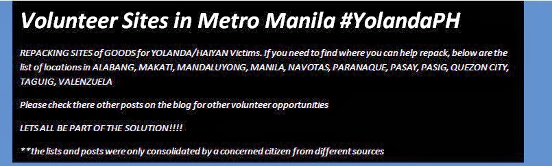 Volunteer Sites in Metro Manila #YolandaPH