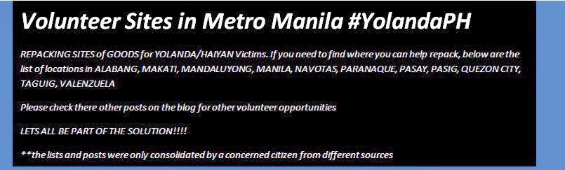 Volunteer Sites in Metro Manila #YolandaPH