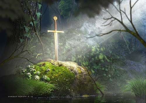 A lendária espada da lenda medieval cravada na pedra