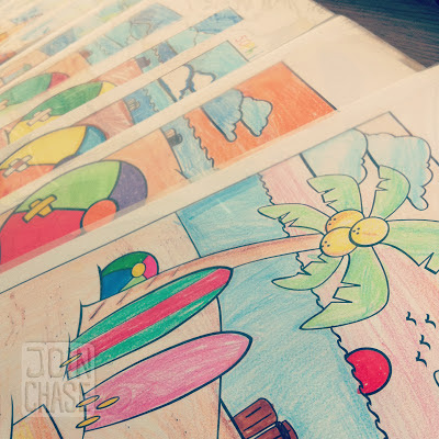 Pictures of the beach and summer fun colored by elementary students in South Korea.