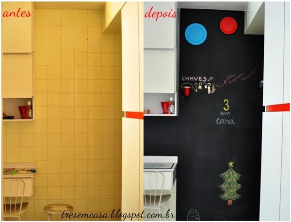como fazer parede lousa na cozinha