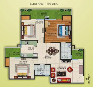 Czar Suites :: Floor Plans:-Nicolas-3 Area - 1405 sq. ft.