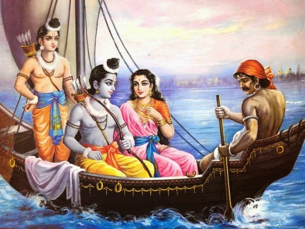 Lord Ram, Laxman, Sita Devi and Kevat sailing boat