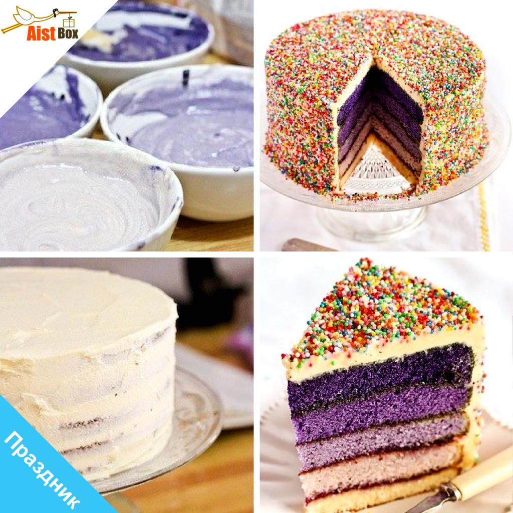 Как сделать коржи для разноцветного торта 305