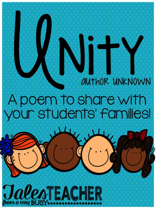 Unity Poem {Back to School} – Tales From a Very Busy Teacher