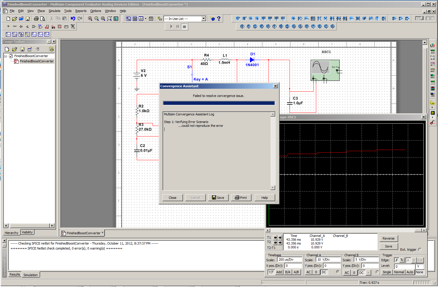 Garretts Blog Designing A Boost Converter Your Own Multisim Like Circuit Design And Simulation Application Bringing It All Together