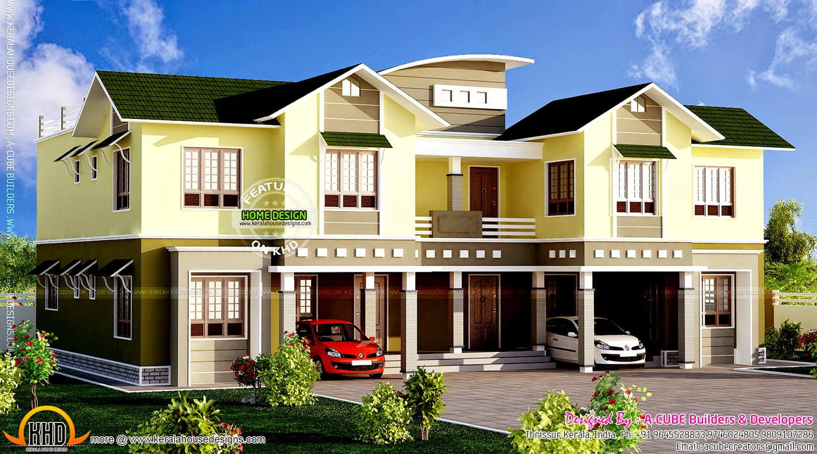 Luxury duplex home kerala home design and floor plans for Duplex home plan design