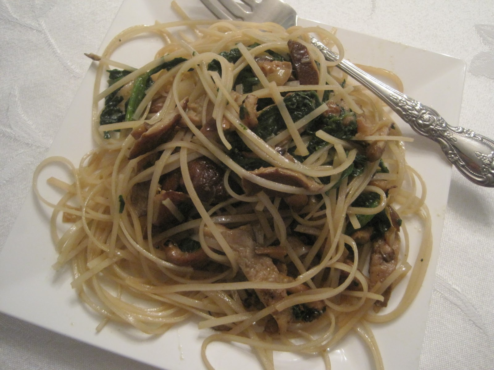 Angel Hair Rice Pasta With Spinach Shiitake Mushrooms Roasted