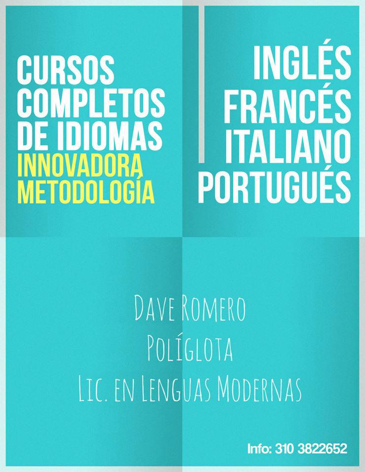Cursos Completos de Idiomas por Dave Romero (Afiche)