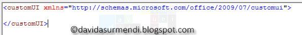 Líneas que definen una personalización de la Interface de Usuario de Excel