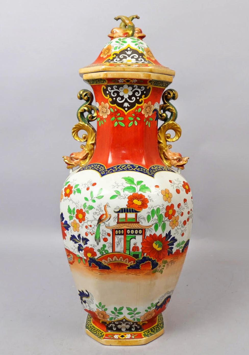 Japanese English Imari Design Ironstone China Urn