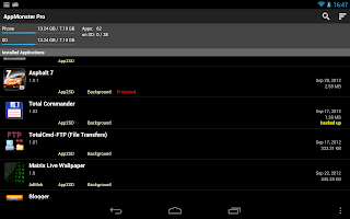 AppMonster on Android Tablet. Installed apps, app2sd, backup, uninstall