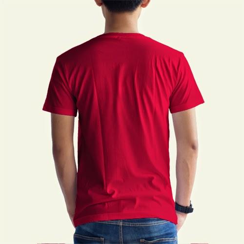 Kaos Distro Koleksi Polos Merah Belakang Gambar Depanbelakang
