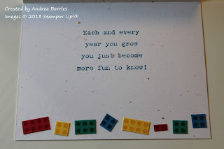 "Inside of card with stamped sentiment and a row of card stock Lego-style ""bricks"" along the bottom."
