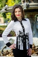 Camasa alb cu negru pictata manual Diandra (Ama Fashion)